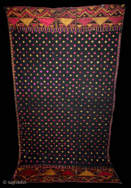 Indigo Phulkari From East(Punjab)India Called As Mughal Buti phulkari.Rare Design.Floss Silk on Hand Spun Cotton khaddar Cloth.(DSE03100).