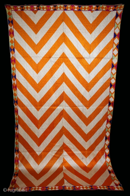 Phulkari From West(Pakistan)Punjab India Called As Lahariya Bagh.Rare Design.Floss Silk on Hand Spun Cotton khaddar Cloth.(DSL03240).