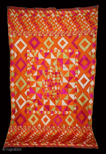 Phulkari From East(Punjab)India Called As Punjabi Bagh.Rare Design.Floss Silk on Hand Spun Cotton khaddar Cloth.Its size is 132cm x 226cm.(DSL03890).
