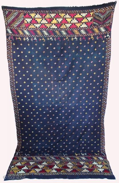 Vintage Phulkari from East (India)Punjab Called As Indigo Blue Star Buti Phulkari, Rare influence Phulkari.Condition little bite worn because of age.(DSC00450)