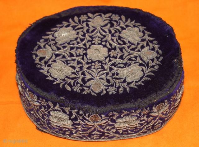 Salma and Zardosi Real Silver Work Cap from Hyderabad (Andhra Pradesh) India.Very Rare Design Good condition.(DSC00530).
