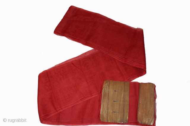 """Turban cloth like these in cotton Zari. Red is popular with royals family.Rajasthan.India. length 15 to 18 miter,wide 29""""cm.Good condition From Varanasi.(DSC00408)"""