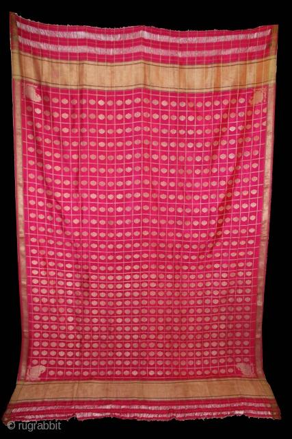 Odhni Zari Brocade(Real Silver and Gold) from Jamnagar Gujarat India..Textile for a Odhni in red silk and brocade woven.Very Rare Design.(DSC00610).