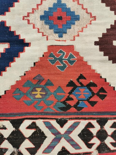 Mounted Karacecli kelim fragment, early to mid 19th century. Strong saturated colours, large scale graphics 88in by 42in