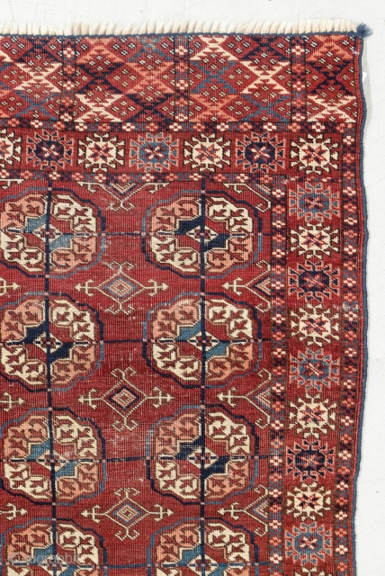 Stunning Tekke wedding rug. Beautiful coppery red and interesting seconday guls. Love the two different patterns on each elem.  3ft 1in x 4ft 1in