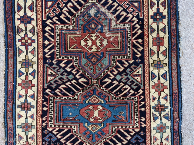 """19th Century Caucasian fragment. 2'5"""" x 3'5"""" or 74 x 104cm. Beautiful colors and can still be used as a scatter rug or collectible piece as an older one.   Cheers."""