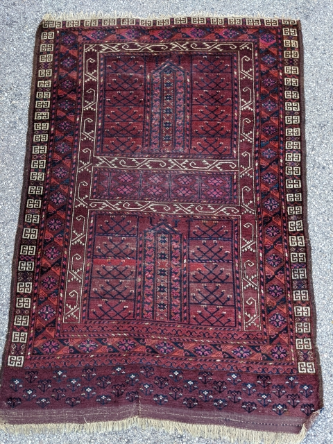 """19th century Ersari ensi with complete kilim end. 4'4"""" x 6'6"""" or 132 x 198cm. Wonderful natural dyes with no tip fading. One repiled strip 2/3 down and low pile in the  ..."""