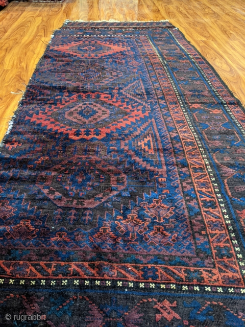 """Antique Timuri main rug. 3'9"""" x 9'3"""". Wonderful ends with soumak technique. Great pile. This piece would have originally been woven in two halves. One end has been sewn back on. Still,  ..."""