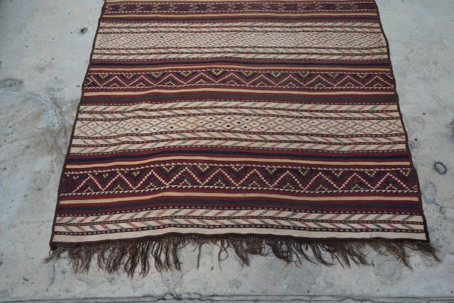 """Afghan Tartari Kilim, Uzbek design. Tight weaving and unique design. Purchased in Afghanistan.  Let me know if you need more information or pictures.  12' 9"""" x 6' 3"""""""