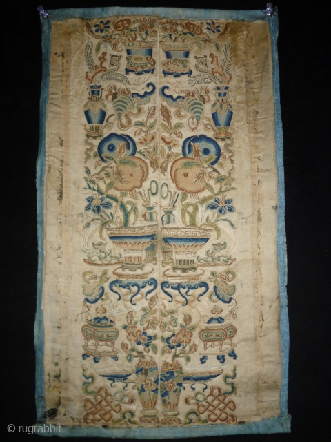 1850/70 Chinese Textile Size: 30x51cm (1.0x1.7ft) Natural colors