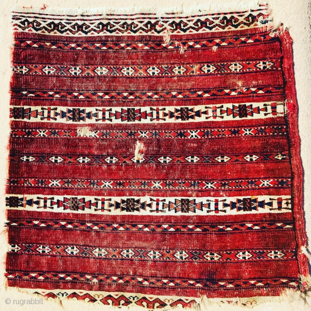fragment of Tekke Ak Chuval age around 1870, the  white color all in Cotton,42x42cm