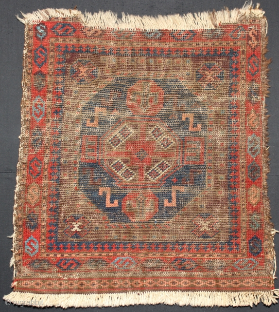 ca.1870 Antique Baluch bagface,,worn but wonderful colours and drawing,,size:62x58 cm  2.2x1.11 ft