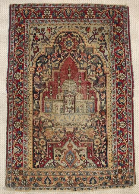Rare small Dorokhsh Mashhad rug,wonderful natural colours,size:112x77 cm  3.6x2.5 ft