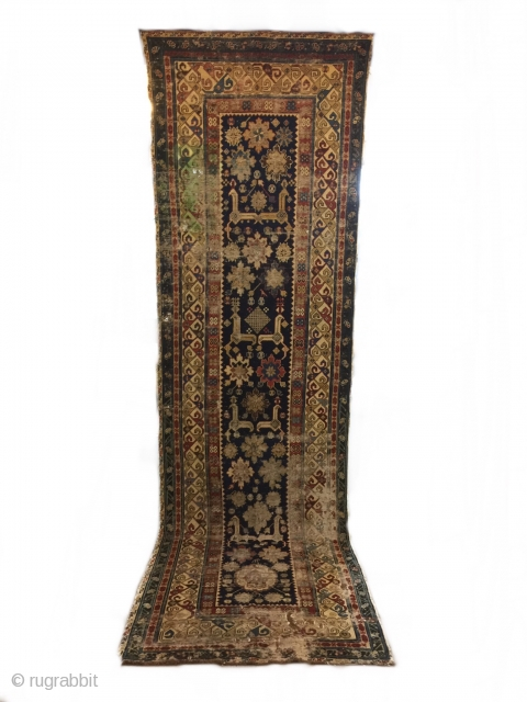 Late 19th Afshan Kuba Rug has stain on top & holes on bottom. 315 x 94 cm