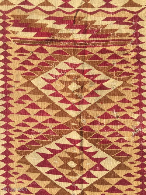 Late 19th Manastir Kilim has some old repair places 235 x 187 cm