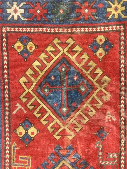 Circa 1900 Kasak rug, end borders loss  190 x 115 cm
