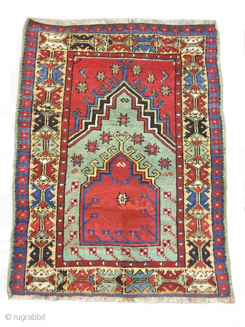 Mid 19th century, Central Anatolian Prayer Rug probably Aksaray size : 135 x 101 cm