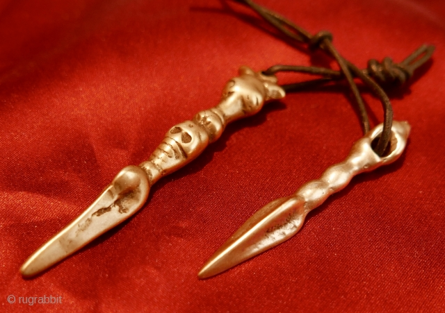 Pair of Antique Tibetan Buddhist/Bon Phurba Thokcha Amulets. Passing through a village just north of Leh,  in Ladakh,  N India twenty years back,  I was approached by a local who  ...