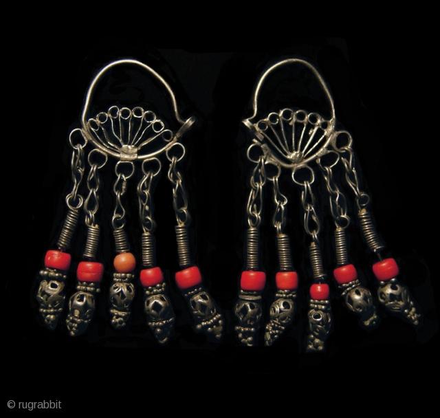 Old Uzbek Silver & Glass Earrings   Height 8.5cm X Width 4cm Weight 46.3 grams