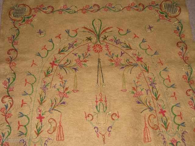 Anatolian Handmade Felt.it has naturel brown colours(camel?)and very beautiful embroidery.some are with metal.it has a beautifull mihrab and and oil lamb,tree of life.real Ottoman figures.the place where the feet should be while  ...