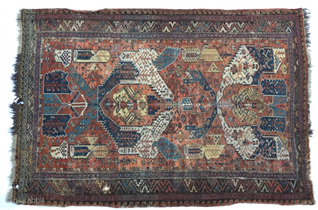 An antique Dragon Soumak, fascinating with heavily saturated natural colors, 19th C