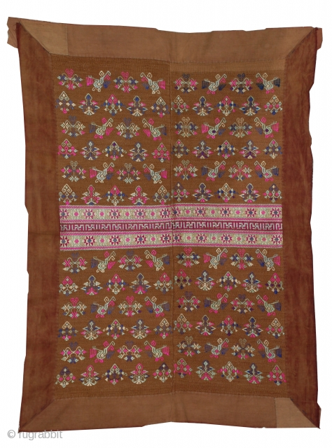 Zhuang Maonan Blanket,   A beautiful brocade blanket from the Guizhou province with a motif of alternating phoenix and flowers. Made with two loomed panels and surrounded by a cotton border,  ...