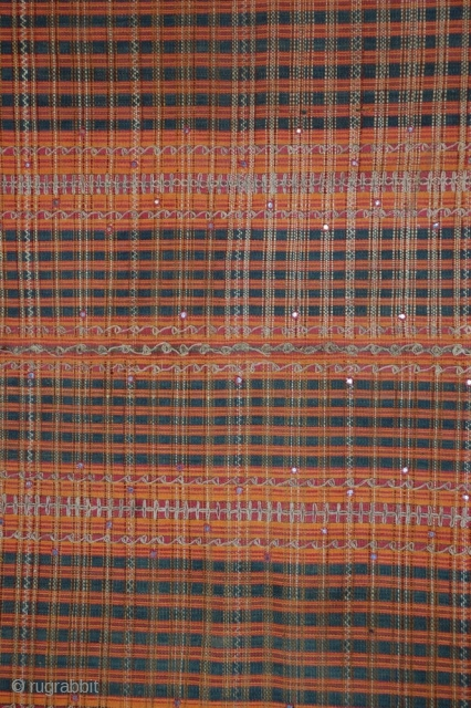 "19c Sumatra Tapis Sarong Tube with metallic thread and mica, all natural vegetable dyes.  49"" x 27""