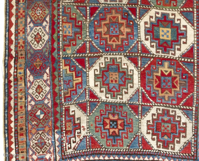 "Antique Caucasian Moghan Kazak Rug with great colors and meaty pile. 143x255 cm (4'8"" x 8'4"")"