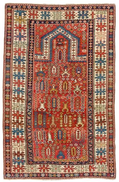 Shirvan Prayer Rug, 36x57 inches (91x144 cm), late 19th Century