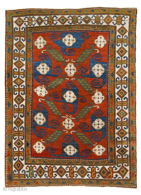 """A Phenomenal Antique Caucasian Pinwheel Kazak Rug, ca late 19th Century, 5'6"""" x 7'1"""" (167x217 cm), Very good condition, approx 99% Original, 1% old repiling that is hard to notice.  The rug  ..."""