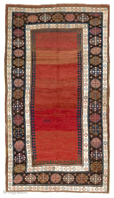 """Antique Kazak Rug, Caucasus, ca mid 19th Century. 4'9 x 8'6"""" (145x260 cm). One end guard border has been rewoven, minor old re-piling in the oxidized blacks, otherwise in good original condition.  ..."""