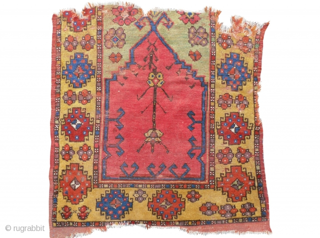 A child`s prayer rug from Konya, Central Anatolia. 33x33 inches (84x84cm), 1st half 19th Century. Original as found, can be restored professionally with recycled wool if requested. www.RugSpecialist.com , Binbirdirek Mah, Peykhane  ...