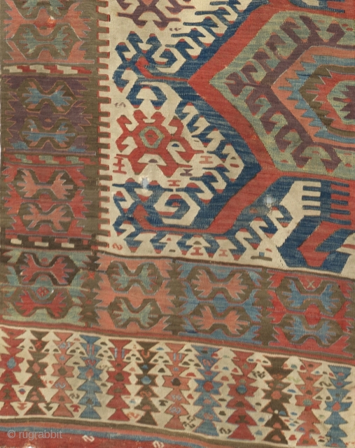 Central Anatolian Hotamis Kilim, ca 1800. 5.4 x 14 Ft - 164x427 cm