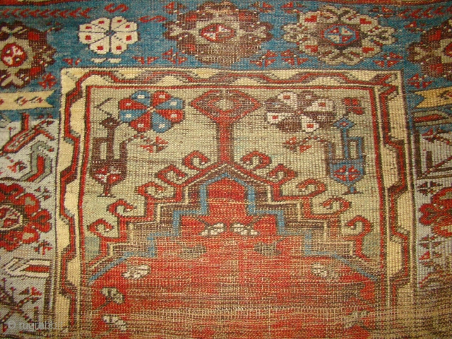 Anatolian Ladik Prayer rug. Worn in the field with some pile in the borders. 41X70 inches 104X178 Cm.
