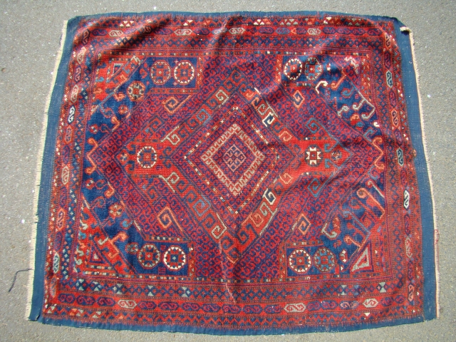 Anatolian Turkish rug with shiny wool and great colors. All wool, 51X61 inches 130X155 Cm. including the Kilim ends. Short pile with some lower area a shown. Needs light blocking to lay  ...