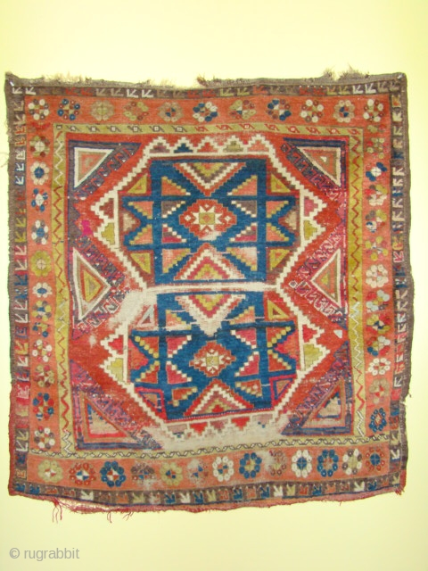 Turkish Anatolian village rug, Konya? with great colors except some aniline red in the flat weave on the bottom end and part of the side as shown. Also scattered small amount in  ...