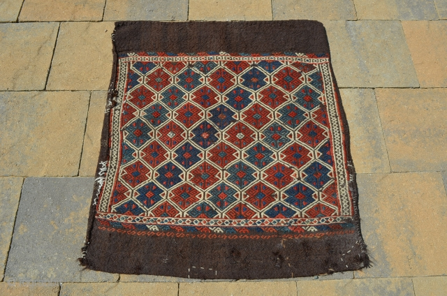 """Great camel hair bag, nice design and bold colors, measures 35"""" x 29"""" wonderful old interior repairs (see photos), one would guess heavy use.  Very coarse."""