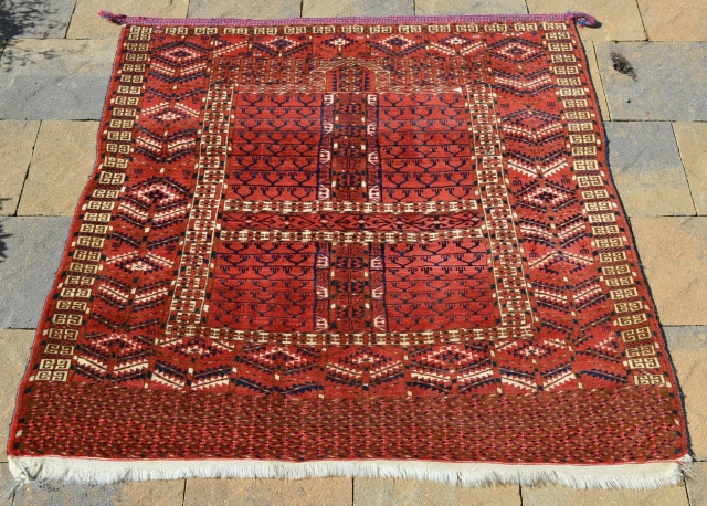 "Tekke Ensi, great color and condition, complete with original braided hanging band.  Measures 52"" x 46 1/2"" Circa 1900-1920.  Recently cleaned."