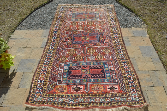 """A very nice Kurdish carpet, circa 1900.  A couple of small repairs.  Great colors.  Measures 9'8"""" x 5'7"""""""