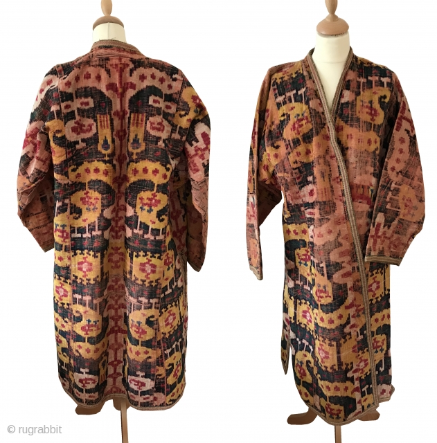 An excellent antique Uzbek silk velvet Ikat Chapan / Robe dating to the 3rd quarter of the 19th Century. While Ikat textiles of Central Asia were some of the most sophisticated woven  ...