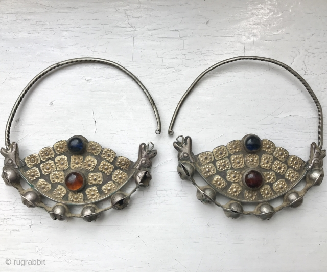 A rare antique pair of Turkmen / Turkoman gold appliqué on silver earrings attributed to the Yomud / Yomut tribes. This pair dates to the late 19th century / early 1900's and  ...