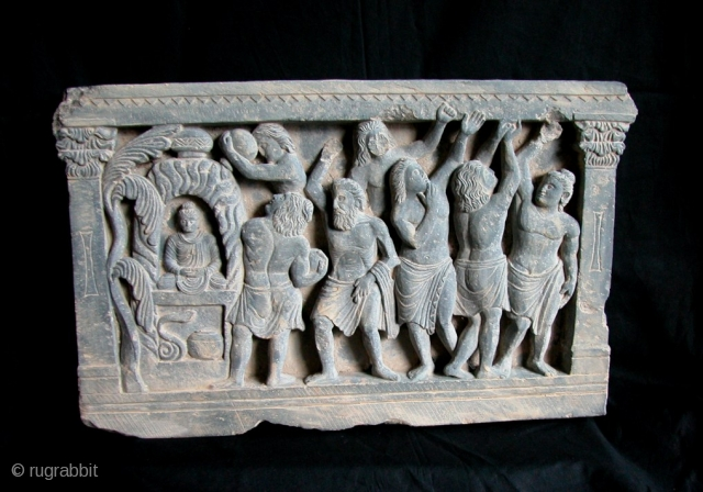 """Gandhara Frieze, Grey Schist Stone, 2nd to 3rd century. NW Frontier, Pakistan. Very beautiful frieze, with strong Hellenistic influences. 13.1/2"""" x 21""""wd. Please contact us for more images and information."""