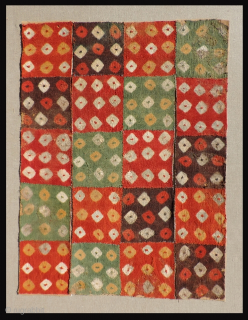 Nasca tie dye panels.  A.D. 400 - 800.  These discontinuous warp and weft tie dyed panels are in need of mounting for display purposes. If mounted together they would look  ...