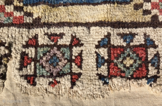 Central Anatolian Yellow Ground Konya Fragment with Memling guls. Published in 'Oriental Rugs from Pacific Collections: Exhibition for the Conference on Oriental Carpets, San Francisco 1990' fig. 27, page 56. Fluffy pile,  ...