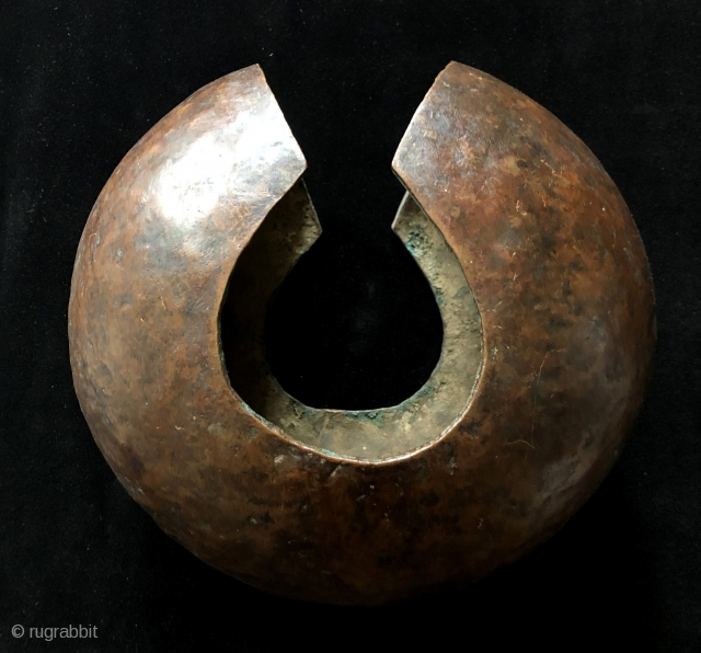 Excellent, old Mbole copper currency from the Congo. The Mbole tribes inhabited a region in Africa formerly known as Central Zaire. This type of currency was used in marriage ceremonies and dances  ...