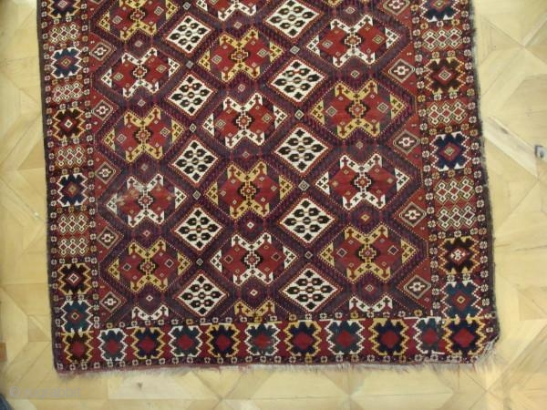 Beshir main carpet 3.50m x 1.76m Circa 1870. In good condition. A very handsome and charismatic carpet.