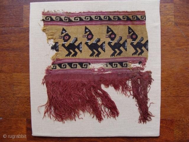 Pre-Columbian textile fragment, probably Chimu. 28cm x 30cm (textile only)