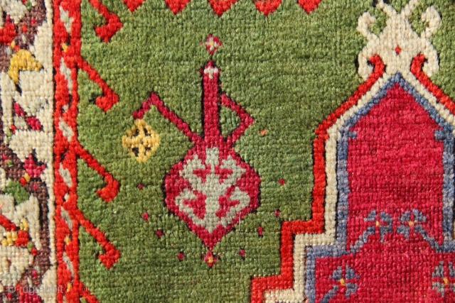 "Mid 19th century Kirsehir prayer rug 4'1"" x 5'9"". See it at the Hali Fair, London June 27-30th inclusive."