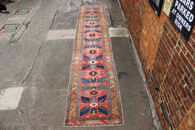 """Soft coloured Karaja runner circa 1920 3'6"""" x 17'7"""" in great condition, clean, flat & straight, ready for your floor."""