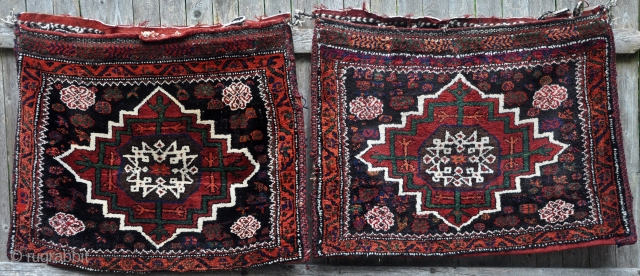 """Pair of Afshar Kuhi khorjin. Full pile with saturated colors. Piled closure tabs. 32"""" x 27"""" (81 x 68cm) each."""